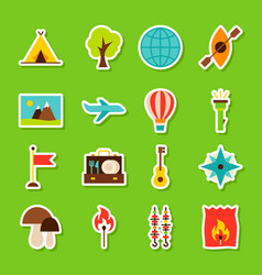 Summer camp stickers vector