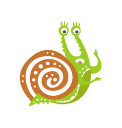 surprised funny snail character cute green vector image
