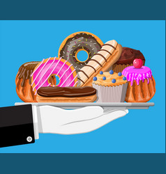 sweet desserts in tray in hand vector image