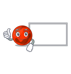 thumbs up with board mars planet character cartoon vector image