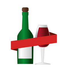Wine bottle with cork and glass cup and ribbon vector