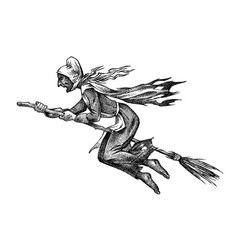 Witch flies on a broomstick ancient mythical vector