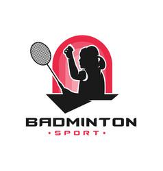 Womens badminton sport logo vector