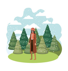 young woman with winter clothes and winter pines vector image