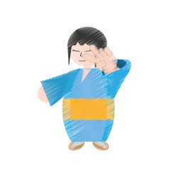 drawing japanese woman with kimono vector image