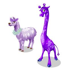 funny giraffe and lama in purple color vector image vector image