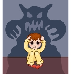Little boy and his fear vector image vector image