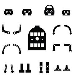 robot parts icon set vector image