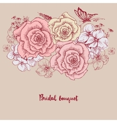 Bridal bouquet Pink roses floral greeting card vector image vector image