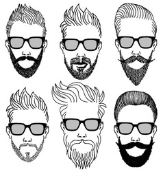 hipster faces with beard set vector image vector image