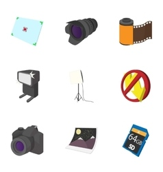 Taking photo icons set cartoon style vector image vector image