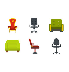 armchair icon set flat style vector image