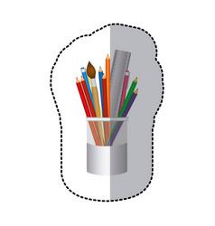 coloured pencils in jar icon vector image