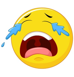 Crying emoticon smiley face character with tears vector image