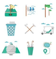 Flat colored icons for golf vector image vector image