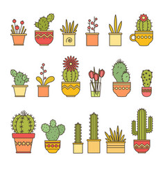 linear design cacti and flowers in pots elements vector image vector image