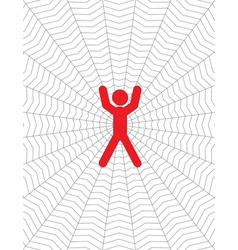 person entangled in a cobweb vector image vector image