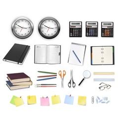 big set clocks and office supplies vector image vector image