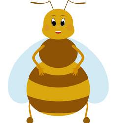 cartoon fat honey bee character vector image vector image