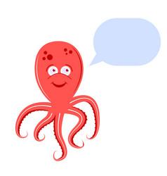 cute octopus speaks speech hand-drawn vector image
