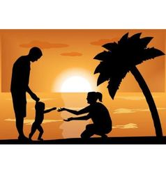 family with a child at sunset vector image