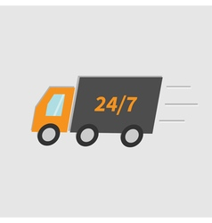 Fast delivery car isolated flat vector