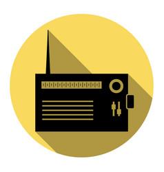 radio sign flat black icon vector image