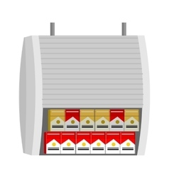 Shelve with cigarettes packs vector