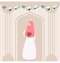 woman girl muslim bride holding flower wearing vector image vector image