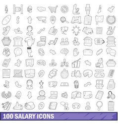 100 salary icons set outline style vector