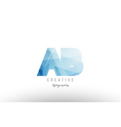 Ab a b blue polygonal alphabet letter logo icon vector
