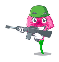 Army petunia flowers on cartoon home page vector