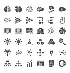 Artificial intelligence solid web icons vector
