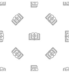 audio book play pattern seamless vector image