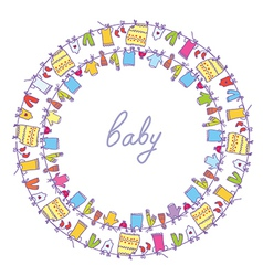 Baby laundry cute frame vector