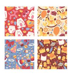 Baby shop seamless pattern cartoon kids clothing vector