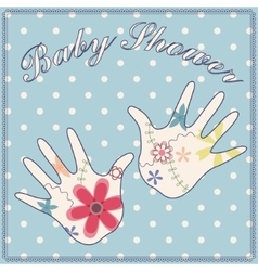 Background baby shower boy vintage vector