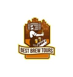 Bartender Pouring Beer Keg Cityscape Crest Retro vector