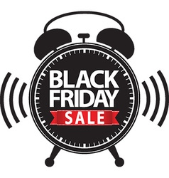 Black friday big sale alarm clock black icon with vector image