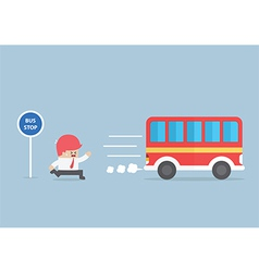 Businessman arriving too late at bus stop vector