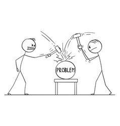 Cartoon two men workers or businessmen beating vector