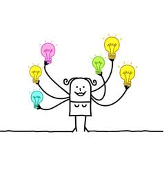 Cartoon woman with multi light bulbs vector