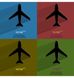 Color set Plane Flat modern web button with long vector image