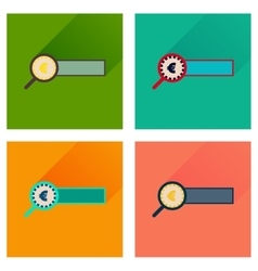 Concept flat icons with long shadow find money vector