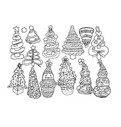 contourline artline drawings of christmas trees vector image