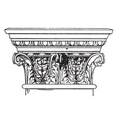 Corinthian pilaster capital modillions vintage vector