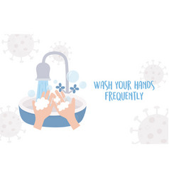 Covid 19 pandemic prevention wash your hands vector