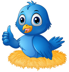 Cute blue bird cartoon giving a thumbs up in the n vector