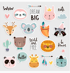 cute boho animals set hand drawn characters vector image