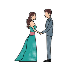 Cute wedding couple holding hands lovely vector